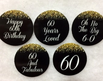 Set of 50/100/150/200 Personalized 60th Birthday Party 1 Inch Circle Confetti