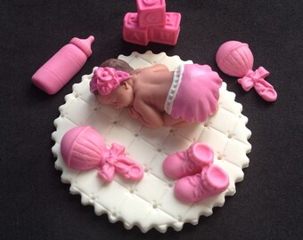Fondant baby girl on white blanket cake topper for Baby Shower, Birthday, Party Favor