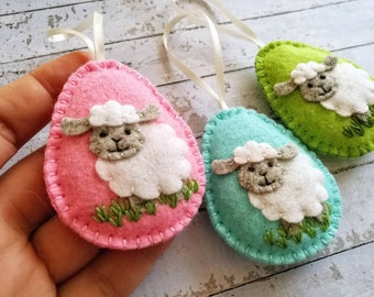 Lamb Easter decoration, Felt Eggs with sheep ornament, Easter Lamb ornament, Felt Easter ornaments / 1 egg