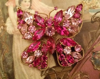 Beautiful Vintage Pink and Fuschia Butterfly Glass Stone Brooch - Costume Jewelry