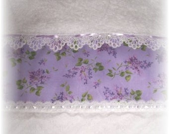 Purple Lilac Floral Decorative Display White Towel with Laces and Ribbons for your Romantic Cottage-Chic Decor