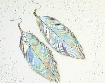 Bohemian Earrings, Boho Feather Earrings, Boho Earrings, Feather Earrings, Bohemian, Party, Holographic, Unicorn, Boho, Big Earrings, 80s