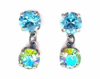 Swarovski Crystal Rhinestone Aqua and Peridot Glacier Blue - 39ss Post Drop Earrings