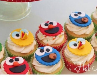 12 Sesame Street Fondant Cupcake Toppers