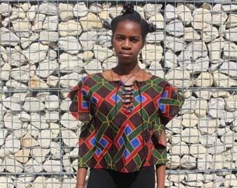 Afrikaanse print blouse met kant van de hals