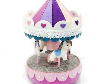 Needle Felt Pack DIY Purple Carousel Music Box Handwork Birthday Gift For Kids Toy Sewing Felt Fabric Home Decorations Craft