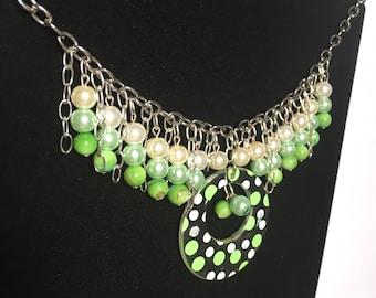 Handmade Polkadot dangle necklace