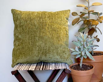 Chartreuse Green Chenille Throw Pillow