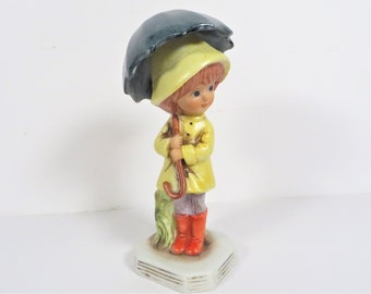 Vintage Porcelain Moppets Girl with Umbrella - Gorham Fran Mar Moppet Figurine