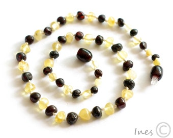 Baltic Amber Baby Teething Necklace Rounded Butter and Dark Cherry Color Beads
