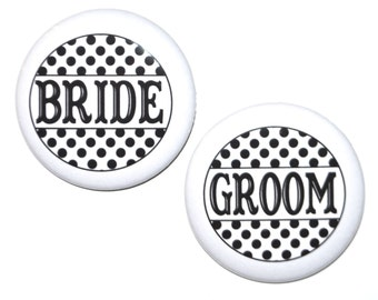 Bride, Groom, Mother of the Bride, Father of the Bride, Mother of the Groom, Father of the Groom 2 1/4 inch pin back buttons