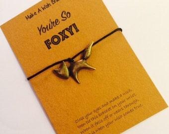 Make A Wish Bracelet / Charm Bracelet - You're So FOXY! Fox, Fox Charm, Fox Bracelet, Wish Bracelet, Fox Jewelry, Charm Bracelet, Foxy