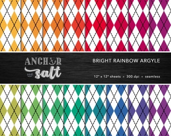 Bright Rainbow Argyle Digital Paper Set -- Diamonds, Sweater Pattern, Preppy, Scrapbook, Seamless -- Personal or Commercial Use