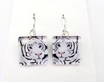 White Tiger/Original Art Earrings