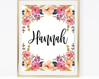 Baby Name Art Print, Baby Name Sign, Pink Watercolor Floral Nursery Wall Art, Personalized Name Sign, Hannah, CUSTOM MADE PRINTABLE