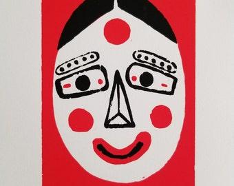 Korean Mask Silkscreen Print
