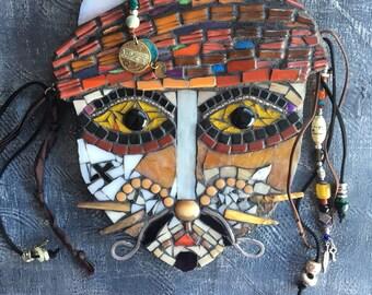 Mosaic cat mask pirate, cat, mosaic mask, mosaic cat face, cat face, mask, glass cat, Jonny cat