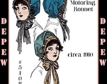 Vintage Edwardian Sewing Pattern 1910s Ladies' Motoring Bonnet #3108 -INSTANT DOWNLOAD-