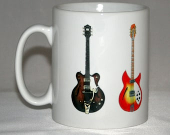 Guitar Mug. The Beatles guitar illustrations.