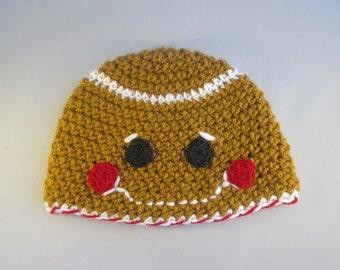 Baby Gingerbread Boy Handmade Crocheted Christmas Hat/ Newborn Photography Prop/ Christmas Photo Prop