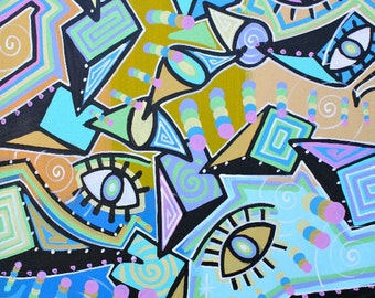 ORIGINAL large surrealism abstract street art urban pop art painting