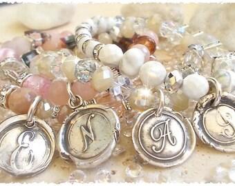 Wedding Day, BRIDESMAIDS Package Wax Seal Jewelry INITIAL Bracelets + Stretch Gemstones, Swarovski, CHOOSE Wedding Colors