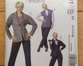M6211 McCall's 'Palmer Pletsch' sewing pattern, for ladies trousers, pants, jacket and wasitcoat.