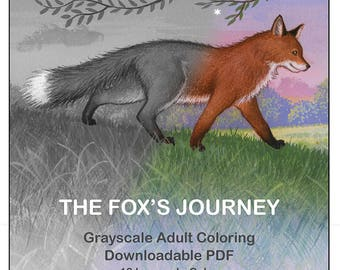 The Fox's Journey Grayscale Adult Coloring Book—12 Image Downloadable PDF