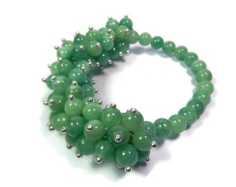 Seaweed Anemone - Mint Green/Silver Bracelet - Hand Looped/Beaded Cluster Stretch - Quartz Gemstone - Mishimon Designs