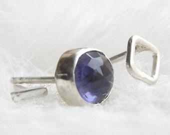 Mismatched earrings- Multiple piercing earrings- Iolite earrings- Citrine earrings- Unusual earrings- Unique earrings- Asymmetrical studs