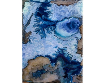 Blue abstract art print, 8 x 10, map inspired watercolor, topography, Mountains of Madness 1