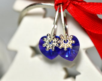 Blue Swarovski Heart Earrings Moederdag Oorbellen Sterling Swarovski Earrings Tiny Earrings Sterling Earrings Summer Earrings Gift for Her