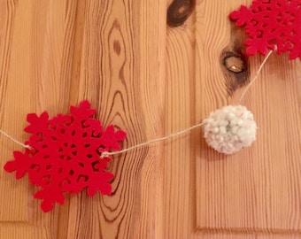 Felt Red Snowflake and PomPom Christmas Garland