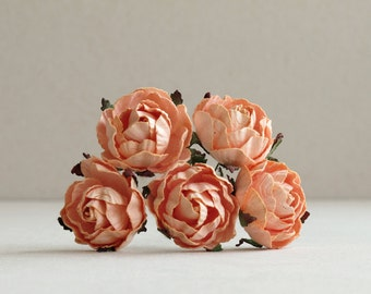 30mm Peach Paper Peonies (5 pieces) - Small mulberry paper flowers with wire stems [135]