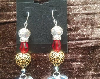 Red & White Golden Heart Earrings