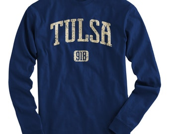 LS Tulsa 918 Oklahoma Tee - Long Sleeve T-shirt - Men and Kids - S M L XL 2x 3x 4x - Tulsa Shirt - 4 Colors