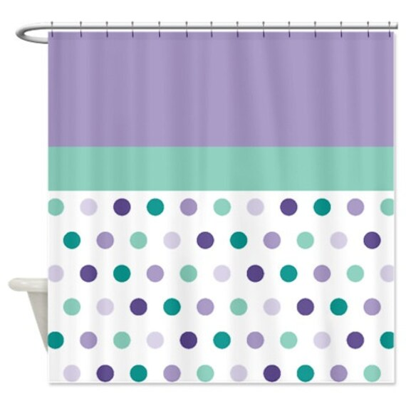 purple and turquoise shower curtain.  Zoom Polka Dot Shower Curtain Custom Seafoam Lavender Purple