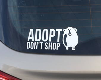 ADOPT DON'T SHOP Guinea Pig Car Decal by Wheek At The Moon - Black White Piggy Cavy Rescue Promote Sanctuary Adoption Window Sticker