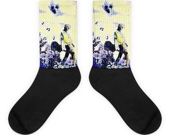 Guitar Girl Blue Socks