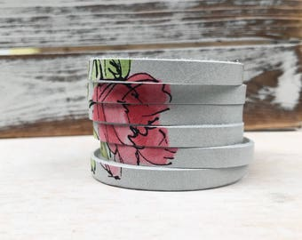 Leather Bangle Bracelet - Watercolor Rose
