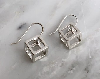 Sterling Silver Cube Dangly Earrings, Minimalist Dangly Earrings, Contemporary Dangly Earrings, Sterling Silver Cube Dangly Earrings