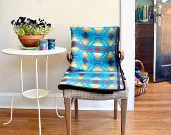 Wool Blanket Turquoise Rust & Brown Native American Inspired Design Couch Throw
