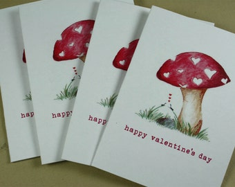 Mini Cards, Valentine Mushroom Hearts, Ants in Love Valentines Red Love Tiny Cards - Set of 4 with Mini Envelopes