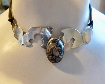 Handmade Sterling Silver and Agate choker necklace