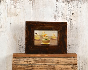 "4x6 Picture Frame 2.25"" Roughsawn Reclaimed Wood with Super Vintage Dark Wood Tone Finish - IN STOCK Same Day Shipping - 4 x 6 Rustic Frame"