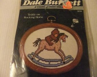 CROSS STITCH KIT Designed by Dale Burdett - Teddy on Rocking Horse - Vintage