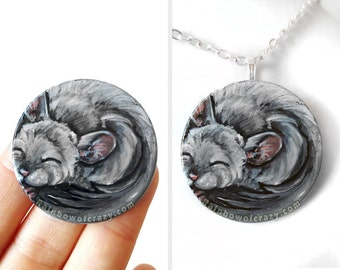 Chinchilla Pet Keepsake, Sleeping Baby Necklace, Sleepy, Hand Painted Wood Pendant, Memorial Gift for Her, Animal Lover, Original Painting
