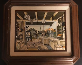 "H. Hargrove Signed ""Mercantile Shop"" Framed Oil Painting ; Vintage H Hargrove"