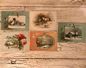 5 Vintage Unused Postcards - 1915 - Beautiful Friendship Cards for Place Cards, Mixed Media and Crafts