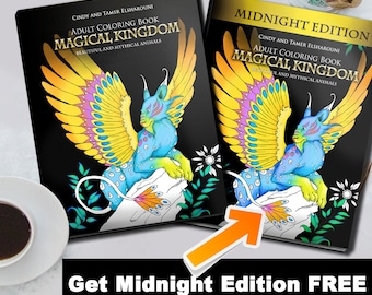 Fantasy Adult Coloring Book, Mythical Animals Coloring Pages, Griffons, Unicorns, Pegasus, Fantasy Creatures Animals- Buy One Get One Free